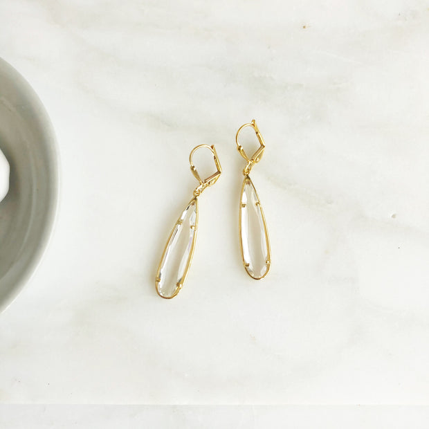 Long Clear Glass Teardrop Earrings in Gold. Simple Glass Earrings