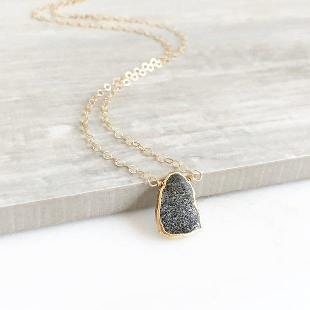 Gemstone Slice Necklace in Gold. Goldstone Slice Gemstone Necklace. Black Stone Layering Necklace