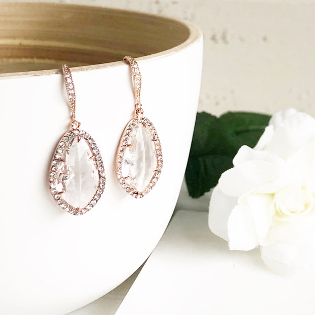 Rose Gold Bridal Earrings Cubic Zirconia Accents. Rose Gold Bridal Earrings. Wedding Earrings.
