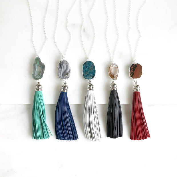 Colorful Tassel Necklace in Silver. Long Boho Leather Tassel Necklace