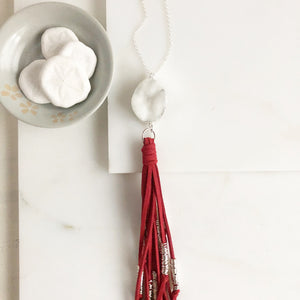 Boho Tassel Necklace. White Druzy and RedTassel Necklace in Silver. Boho Jewelry. Gift Idea.