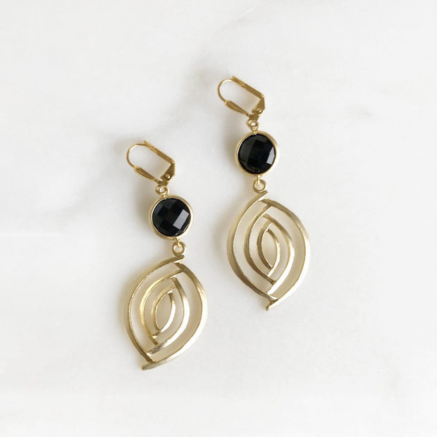 Black and Gold Dangle Earrings. Gold Black Earrings. Dangle Drop Earrings