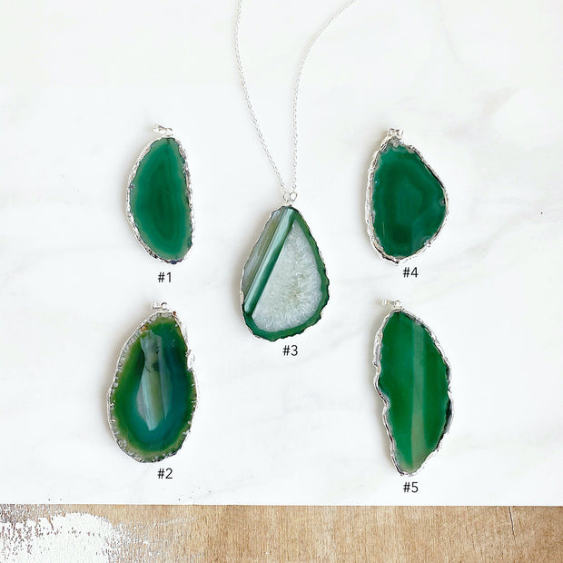 Long Green Geode Slice Necklace in Sterling Silver. Crystal Stone Necklace
