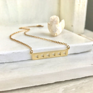 Simple Gold Bar Necklace. Everyday Gold Bar Triangle Pendant Necklace. Dainty Gold Bar Necklace. Gift for Her. Layering Necklace.