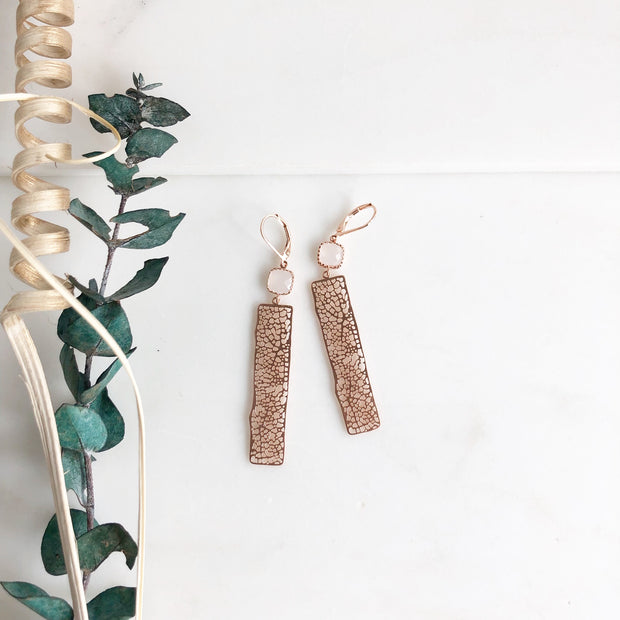Rose Gold Large Speckled Bar Statement Earrings with Soft White Pink Stones.