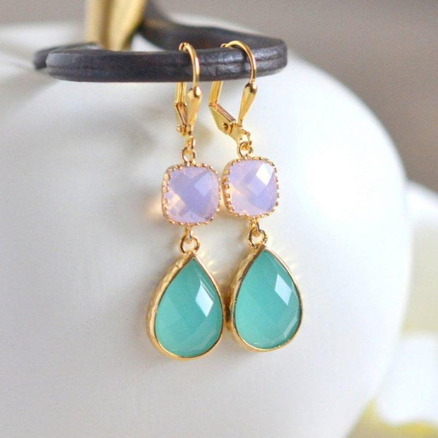 Aqua and Pink Opal Dangle Earrings in Gold. Drop Earrings. Dangle Earrings. Bridesmaid Gift.
