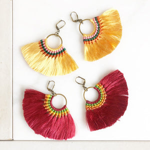 Fan Tassel Earrings. Fall Colors. Red or Gold Tassel Earrings. Chandelier Earrings. Tassel Dangle Earrings. Statement Earrings. Jewelry.