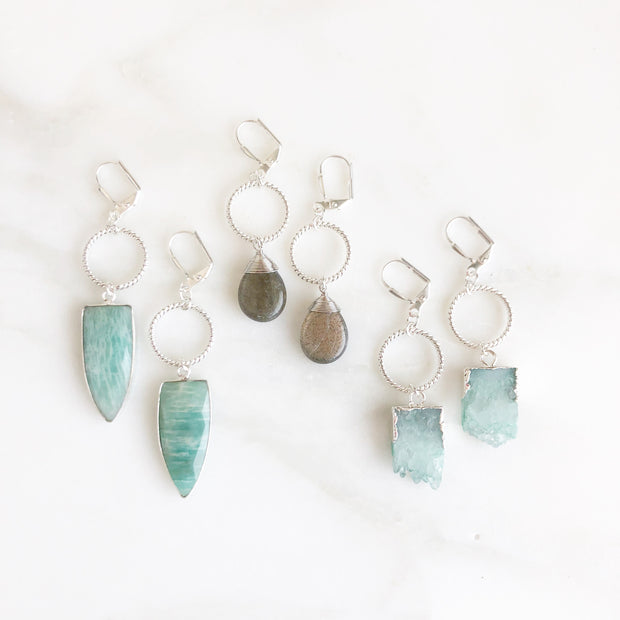 Silver Twisted Hoop Earrings Stone Pendants. Amazonite, Labradorite, Blue Quartz. Dangle Earrings.