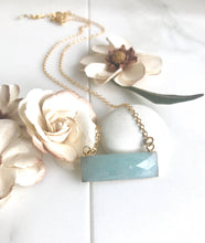 Load image into Gallery viewer, Amazonite Bar Necklace. Everyday Gold Bar Pendant Necklace. Dainty Gold Bar Necklace.