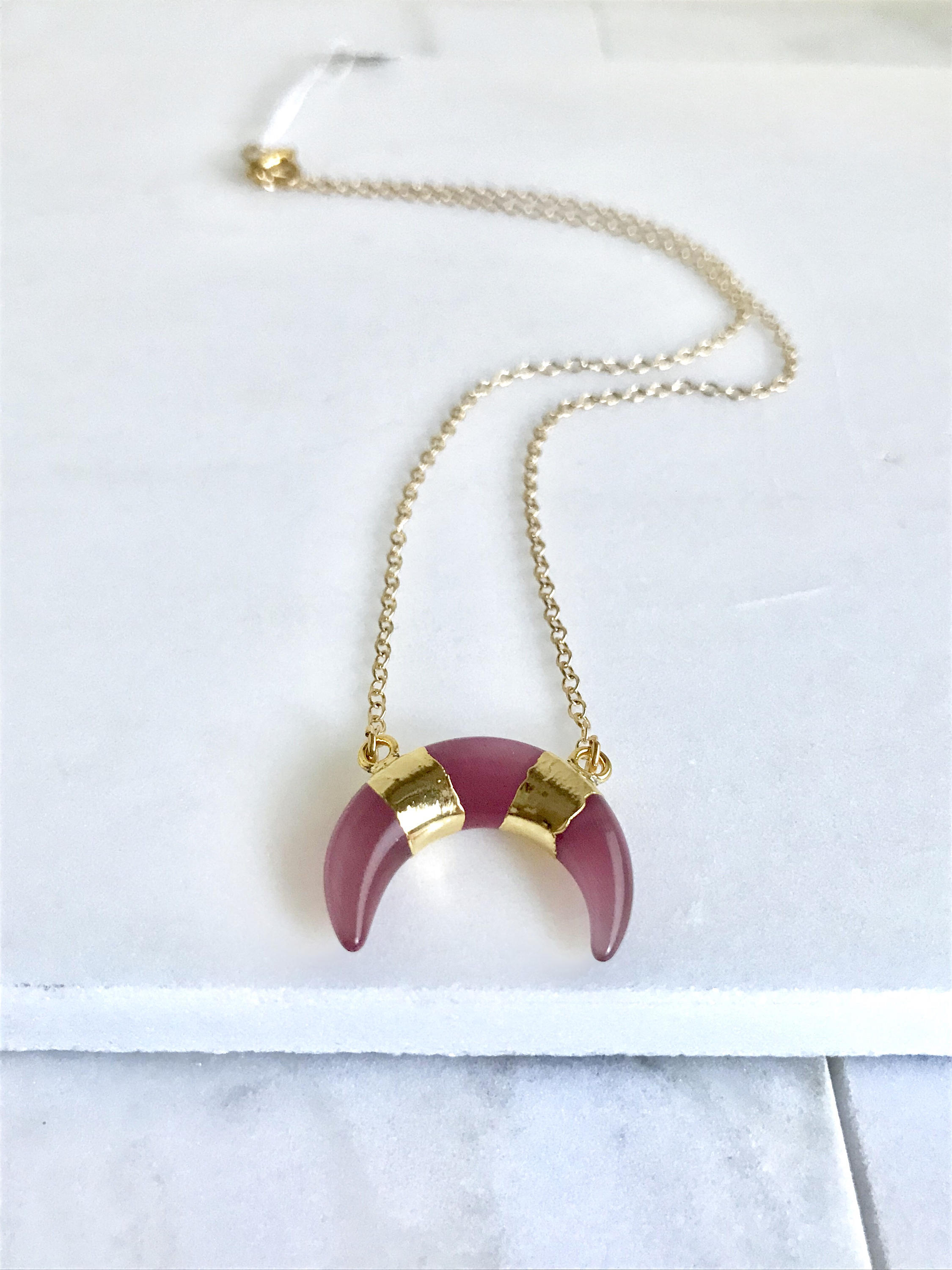 Pink and Pale Blue Crescent Moon Pendant Necklace in Gold. Gemstone Crescent Necklace.