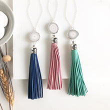 Load image into Gallery viewer, Tassel Necklace. Leather Tassel Necklace. White Druzy and Aqua Tassel Necklace. Long Silver Necklace