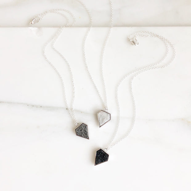 Druzy Shield Necklaces in Sterling Silver. Black, White or Grey Druzy Necklace. Layering Jewelry.