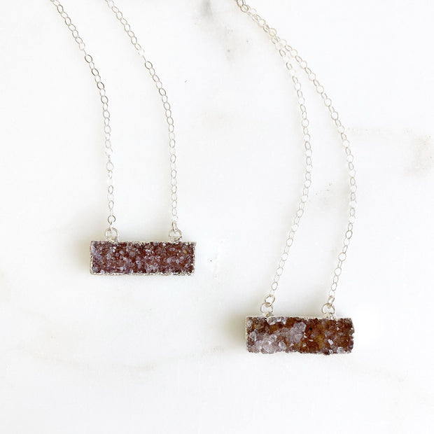 Pale Purple Druzy Bar Necklace in Sterling Silver