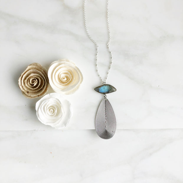 Long Silver Statement Necklace with Labradorite Stone in Sterling Silver