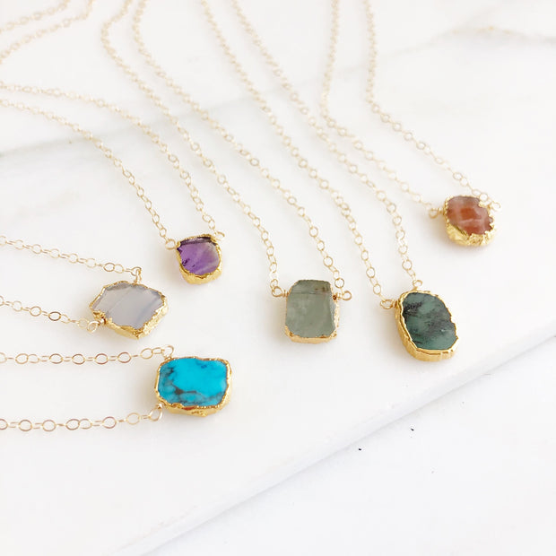 Dainty Gemstone Necklaces in Gold. Delicate Gemstone Slice Layering Necklaces