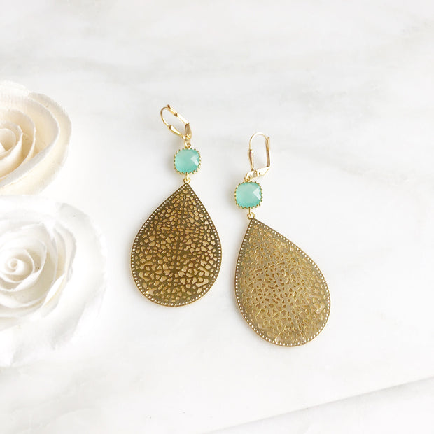Aqua Gold Teardrop Chandelier Earrings. Fashion Statement Dangle Earrings