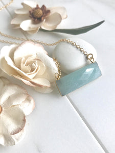Amazonite Bar Necklace. Everyday Gold Bar Pendant Necklace. Dainty Gold Bar Necklace.