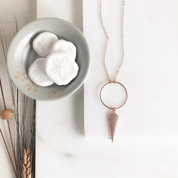 Long Rose Gold Necklace with CZ Shield. Long Dainty Rose Gold Necklace.