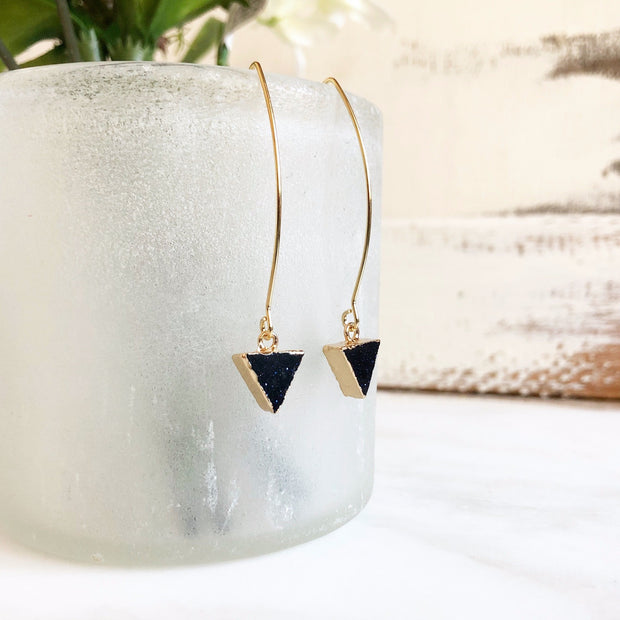 Black Stone Drop Earrings in Gold. Black Traingle Dangle Earrings