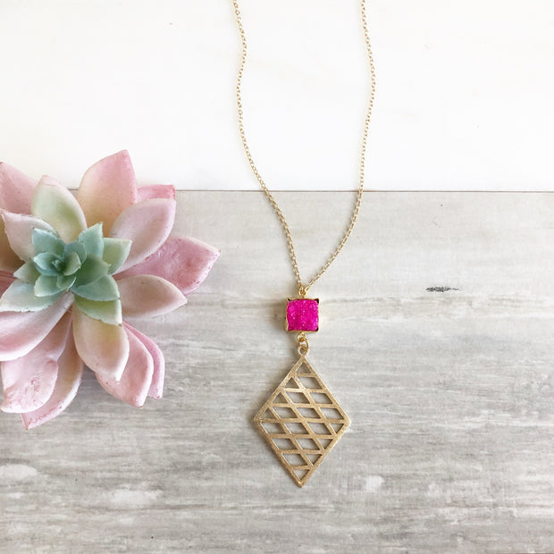 Pink Druzy Pendant Necklace in Gold. Long Boho Necklace