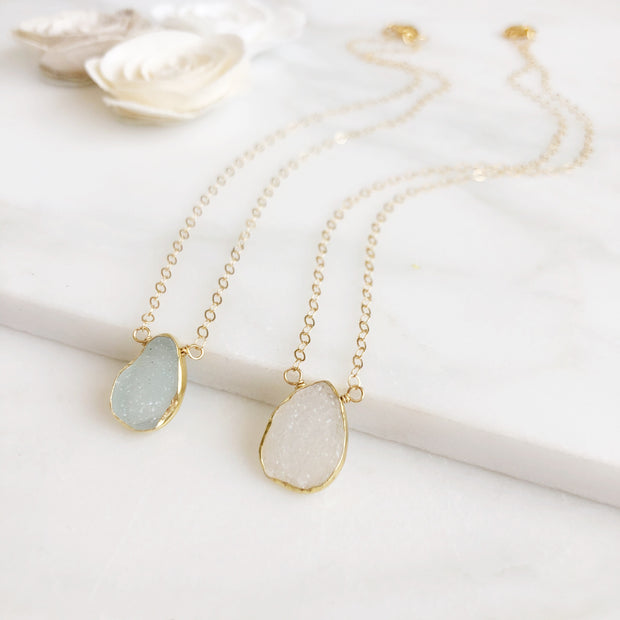 Druzy Necklace Gold Edged Stone. Gemstone Druzy Teardrop Necklace.