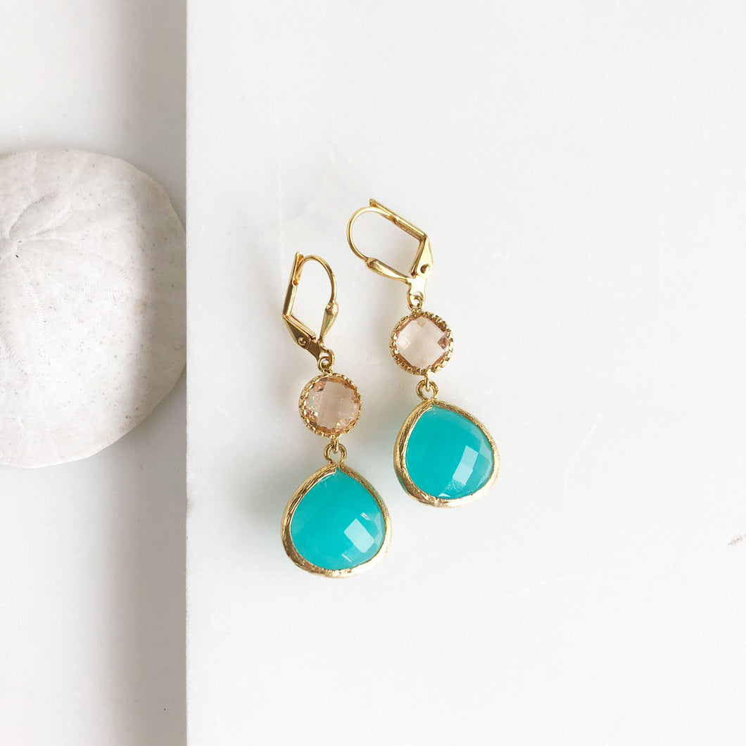 Turquoise and Champagne Glass Drop Earrings in Gold