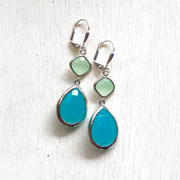 Large Turquoise Teardrop and Mint Diamond Dangle Bridesmaid Earrings in Silver. Glass Drop Earrings. Turquoise Dangle Earrings.