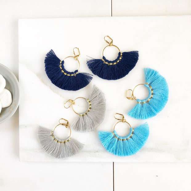 Fan Tassel Earrings. Bl