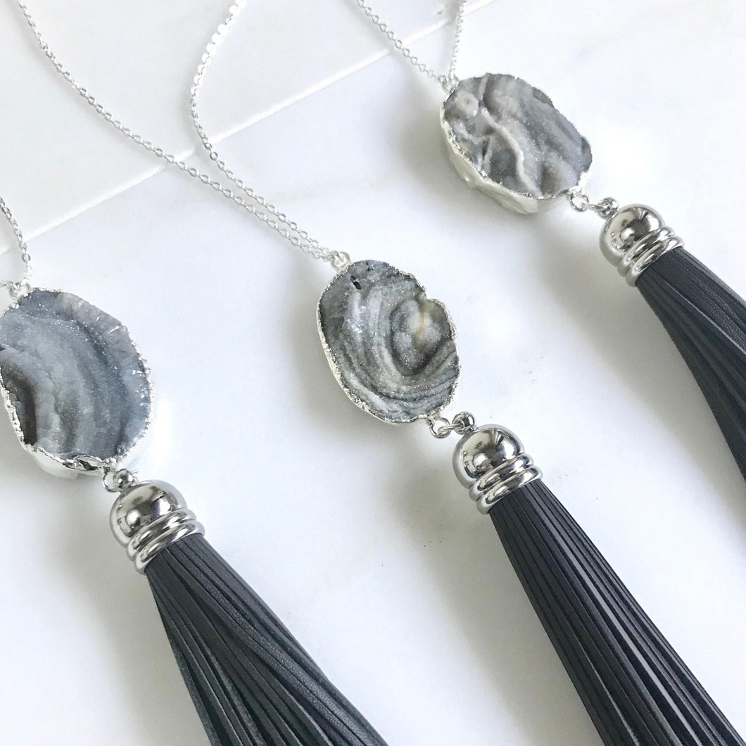 Leather Tassel Necklace. Black Sterling Silver Tassel Necklace. Grey Druzy Long Tassel Necklace. Boho Tassel Jewelry.