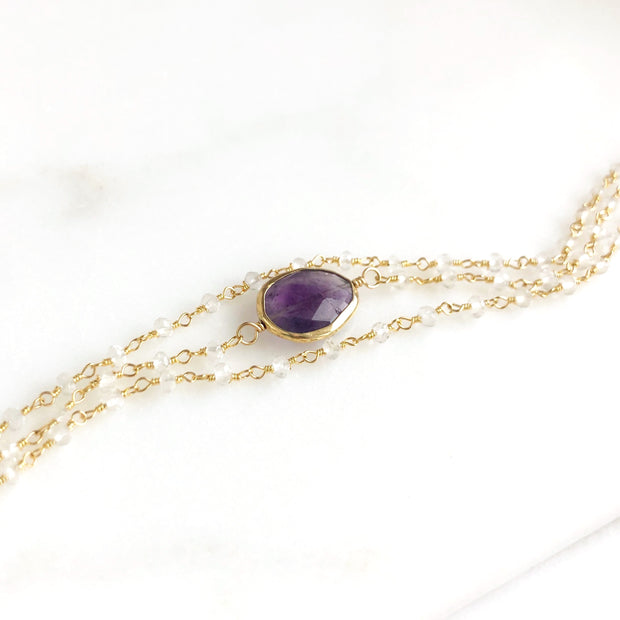 Triple Strand Amethyst And Crystal Beaded Bracelet in Gold