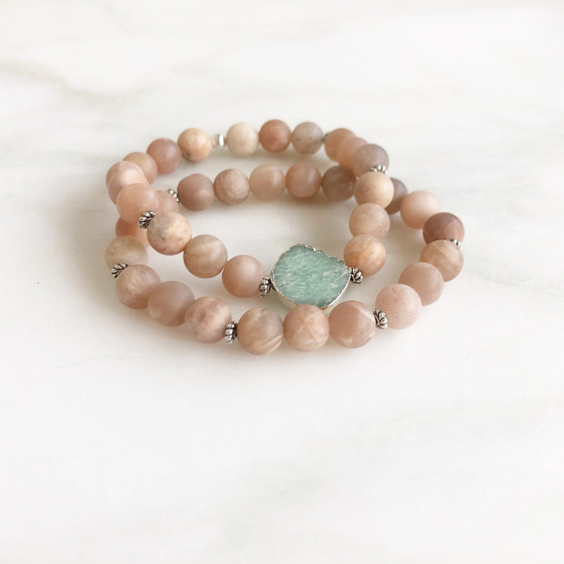 Set of 2 Stretchy Beaded Bracelets with Amazonite Slice Stone and Sunstone Beading in Silver