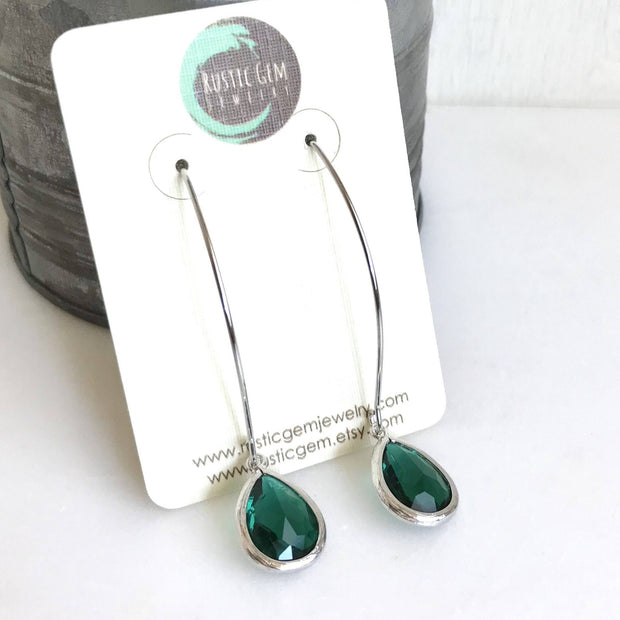 Christmas Green Teardrop Dangle Earrings. Green Drop Dangle Earrings