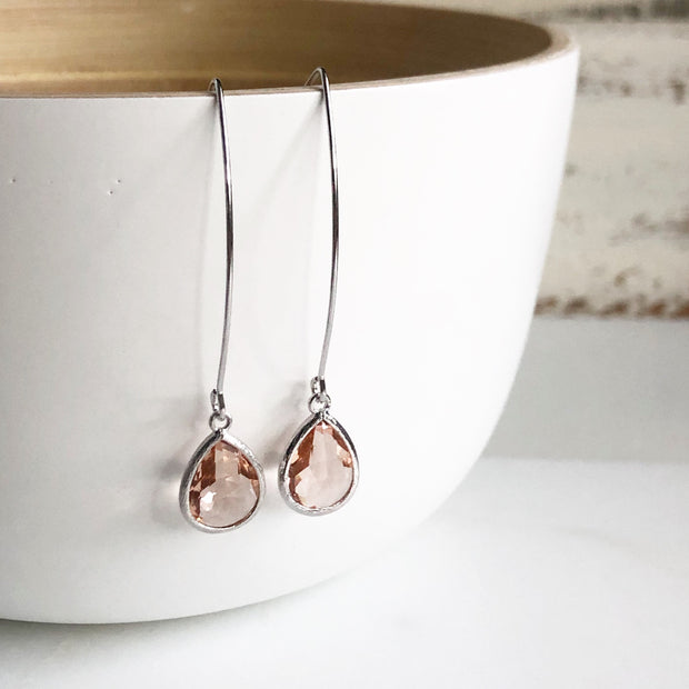 Silver Champagne Drop Earrings. Bridesmaid Gift. Wedding Jewelry. Simple Earrings.