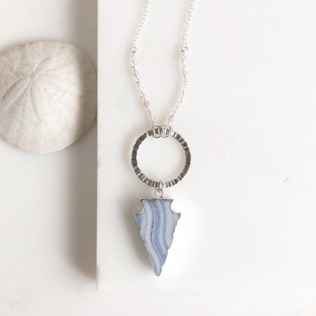 Long Lace Agate Arrowhead Necklace in Sterling Silver