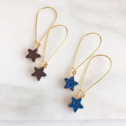 Druzy Star Earrings. Blue and Purple Druzy Star Earrings. Druzy Jewelry. Gold Druzy Earrings