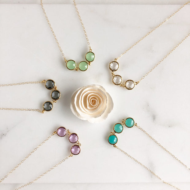 Wedding Necklace. Bridesmaids Necklace. Charm Necklace. Dainty Stone Necklace. Wedding Jewelry.