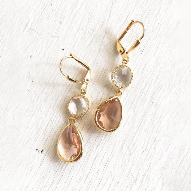Champagne Bridesmaid Earrings in Gold. Dangle Bridal Drop Earrings
