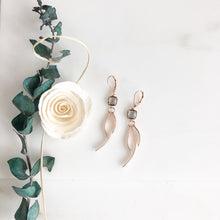 Load image into Gallery viewer, Charcoal Stone Rose Gold Statement Earrings. Fun Earrings.