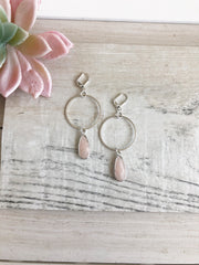 Pale Pink Stone Hoop Earrings in Silver. Hoop Earrings. Pastel Baby Pink Silver Hoops.
