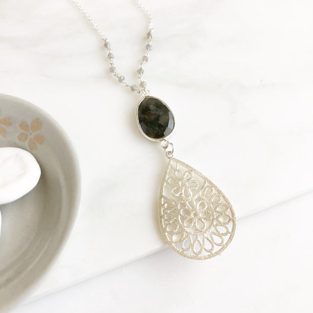 Long Silver Teardrop Pendant Necklace with Labradorite Stone and Beading