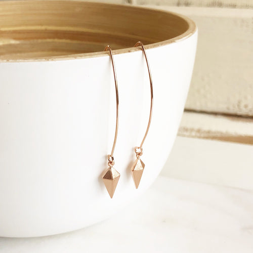 Rose Gold Arrow Drop Earrings. Long Rose Gold Earrings. Rose Gold Drop Earrings. Jewelry. Simple Earrings. Dangle Earrings. Gift.