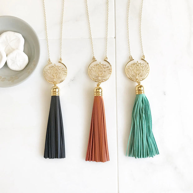 Lotus Tassel Necklace. Leather Tassel Necklace. Long Colorful Tassel Necklace. Long Tassel Necklace. Yoga Tassel Jewelry. Gift.