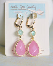 Load image into Gallery viewer, SALE Pink Teardop Stone and Aqua Dangle Earrings in Gold. Bridesmaid Jewelry. Drop Earrings. Dangle Earrings. Gift. Wedding Gift.