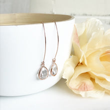 Load image into Gallery viewer, Rose Gold and Clear Stone Drop Earrings. Bridesmaid Gift.