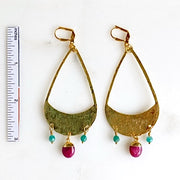 Super Big Statement Earrings with Hammered Brass Teardrops and Fuchsia Oval Stones and Amazonite Beads