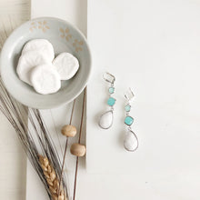 Load image into Gallery viewer, Long White Stone Bridal Earrings with Aqua Accents in Silver.