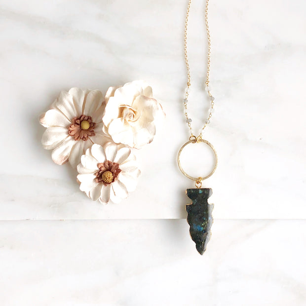 Long Labradorite Necklace in Gold. Long Stone Shield Necklace