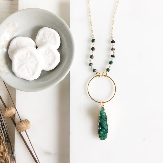 Long Green Druzy Necklace (Small Size) with Turquoise Green Stones. Long Bohemian Necklace. Jewelry.