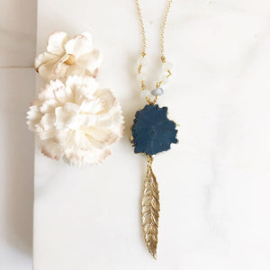 Long Gold Feather Necklace with Blue Stone. Layering Necklace. Solar Quartz Feather Necklace. Beaded Necklace. Jewelry. Boho Jewelry. Gift.