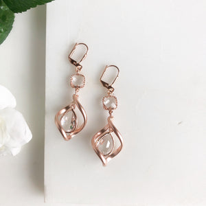Rose Gold and Clear Glass Stone Statement Earrings.